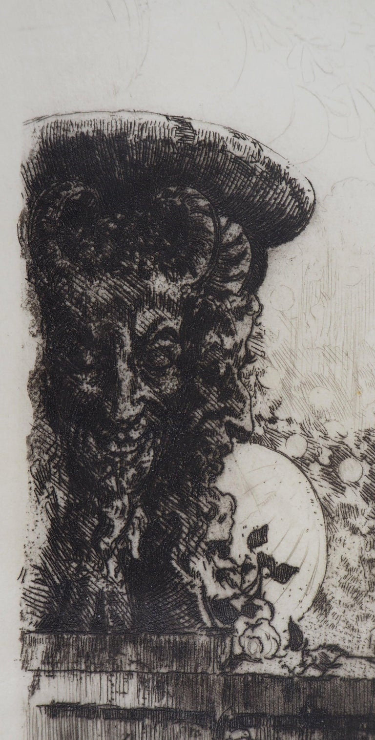 Young lady in a garden - Original Etching Handsigned  - Modern Print by Almery Lobel-Riche