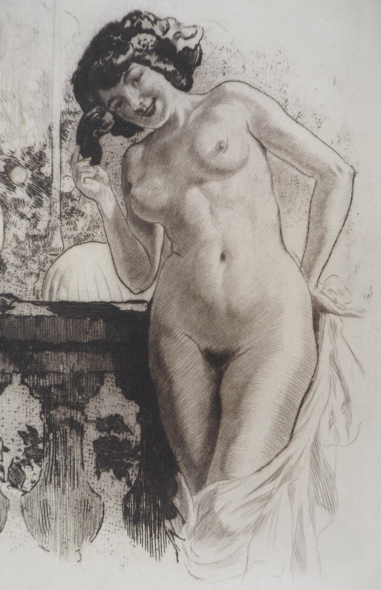 Young lady in a garden - Original Etching Handsigned  - Gray Nude Print by Almery Lobel-Riche