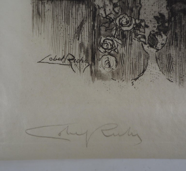 Young lady in a garden - Original Etching Handsigned  For Sale 1