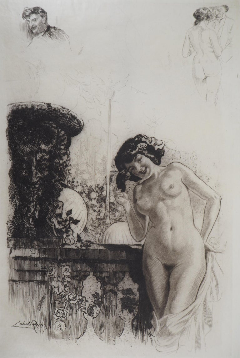 Almery Lobel-Riche Nude Print - Young lady in a garden - Original Etching Handsigned