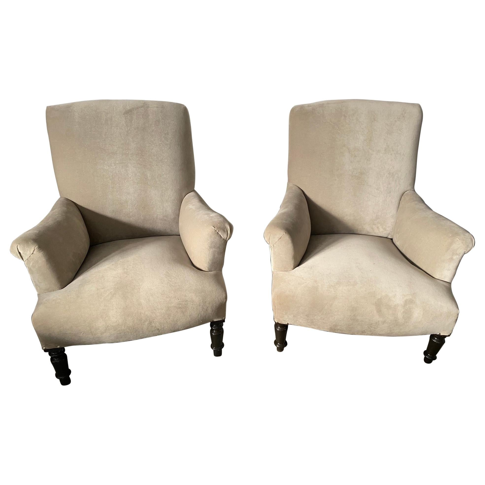Almost a Pair of French Napoleon III Bergere
