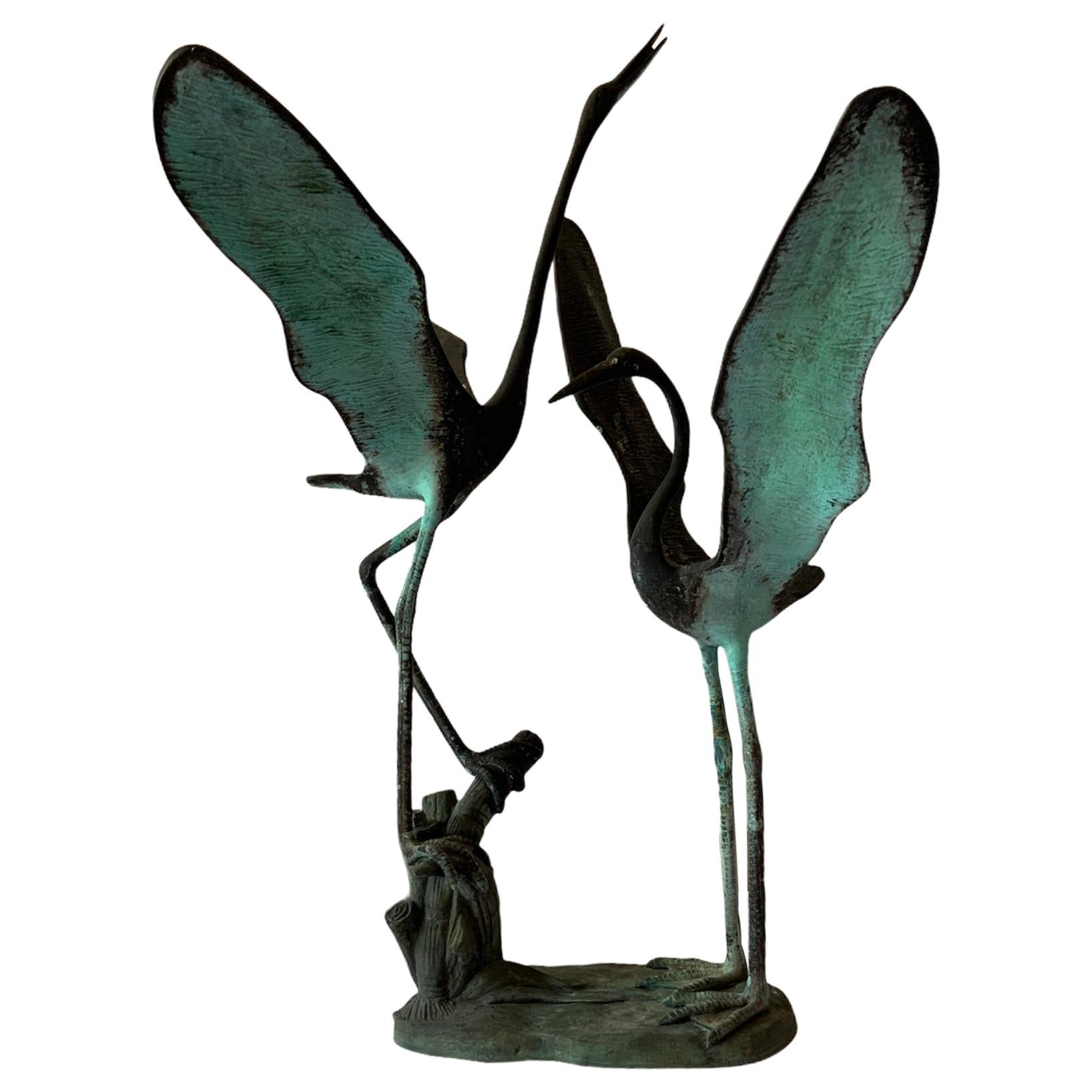 Almost Life Size Patinated Bronze Pair of Cranes Sculpture Fountain