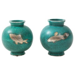 """Almost Matched Pair of Green Glazed Ceramic and Silver """"Argenta"""" Vases"""