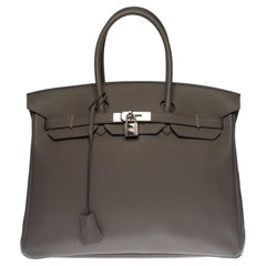 Almost New -Full set-Hermès Birkin 35 handbag in Etain Togo leather, SHW