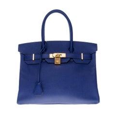 Almost New - Hermès Birkin 30 handbag in Blue Encre Epsom leather, gold hardware