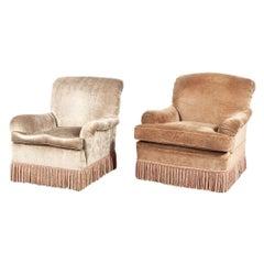 Almost Pair of Brown Velvet Swivel Club Chairs