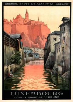 """""""Luxembourg - Grund Quartiere"""" Original Vintage Travel Poster"""