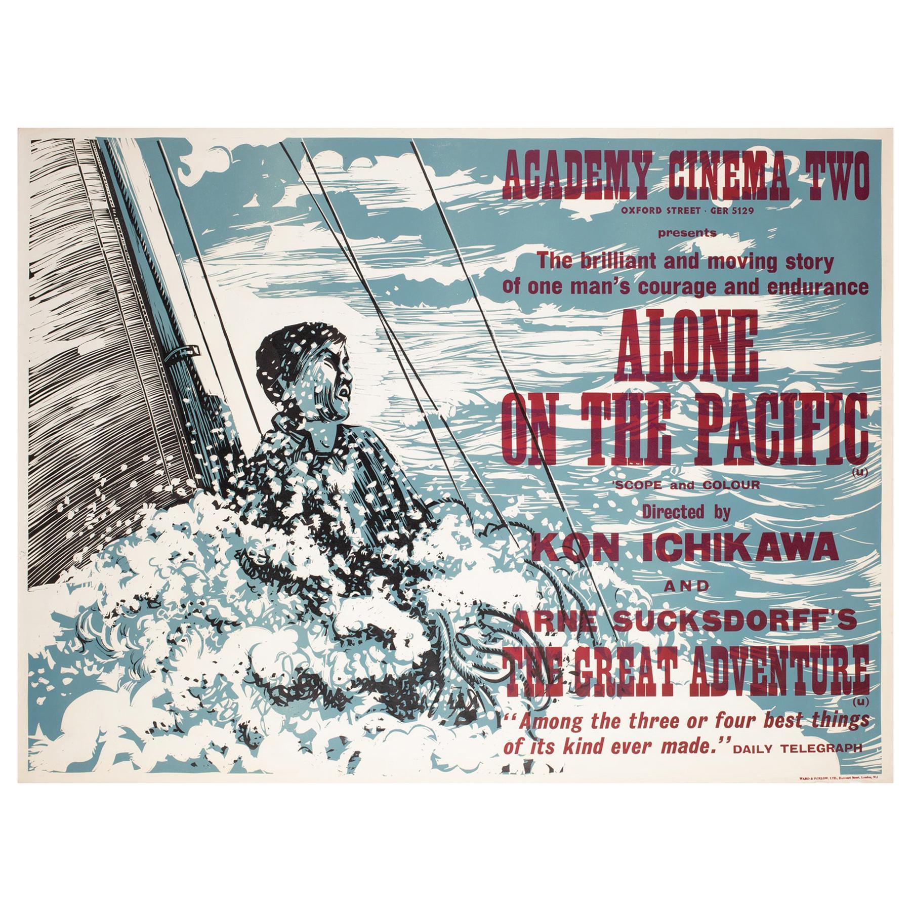 Alone on the Pacific 1967 Academy Cinema London UK Quad Film Poster, Strausfeld