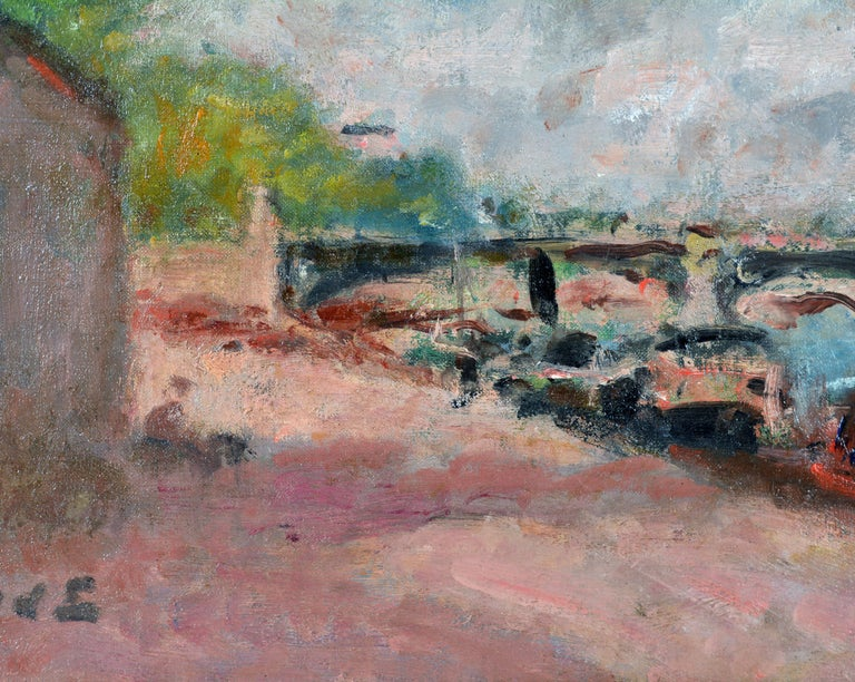 'Along the Seine' by Georges d'Espagnat, French Post Impressionist, 1870-1950 In Good Condition For Sale In Ft. Lauderdale, FL