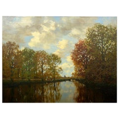 """Along the Vordense Beek"" Antique Barbizon Landscape Painting by Arnold M Gorter"