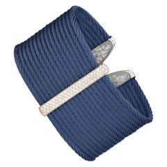 Alor Cable Large Monochrome Cuff with 18kt Rose Gold and Diamonds, 04-24-S625-11