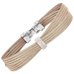Alor Carnation Cable Petite Bow Bracelet 18 Karat RG and Diamonds 04-26-S551-11