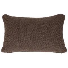 Alpaca Wool Blend Espresso Pillow with Basket Weave Pattern by Pehuen