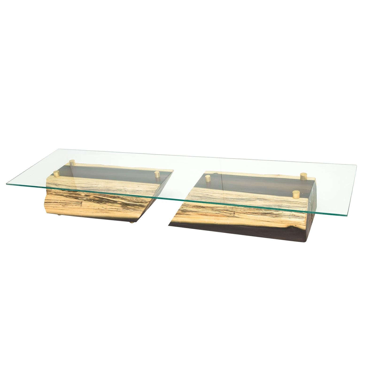 Blue Mahoe Wood Rectangular Low Coffee/Center Table With Brass Details