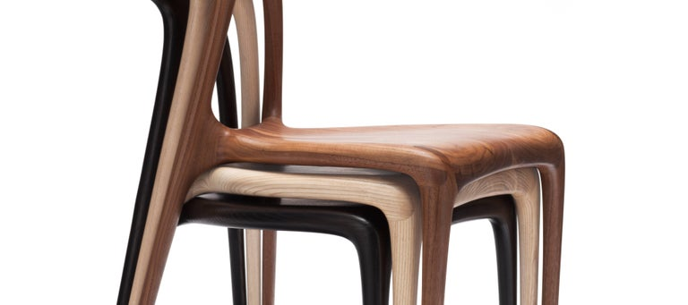 British 'Alpha' Solid Walnut Stackable Contemporary Dining Chair - In Stock For Sale