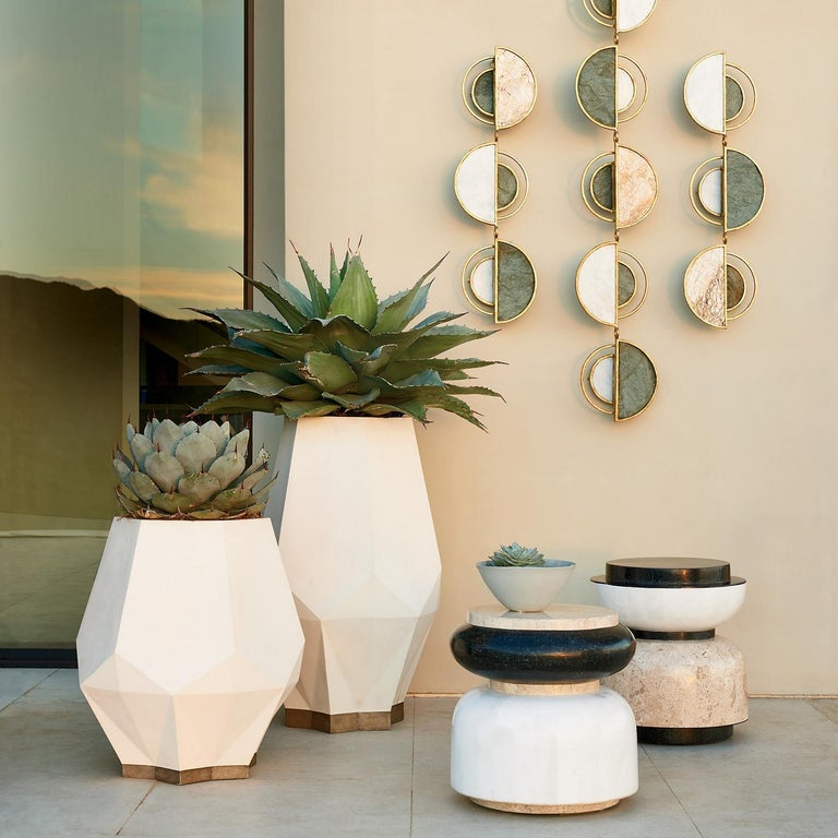 Modern Alpha Contemporary Indoor or Outdoor Round Stone Side Table For Sale