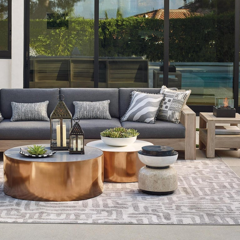 Alpha Contemporary Indoor or Outdoor Round Stone Side Table In New Condition For Sale In New York, NY