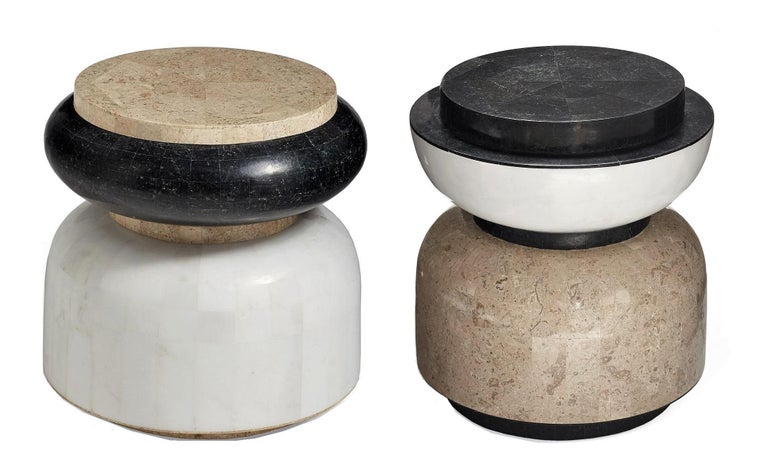 Alpha Contemporary Indoor or Outdoor Round Stone Side Table For Sale 1