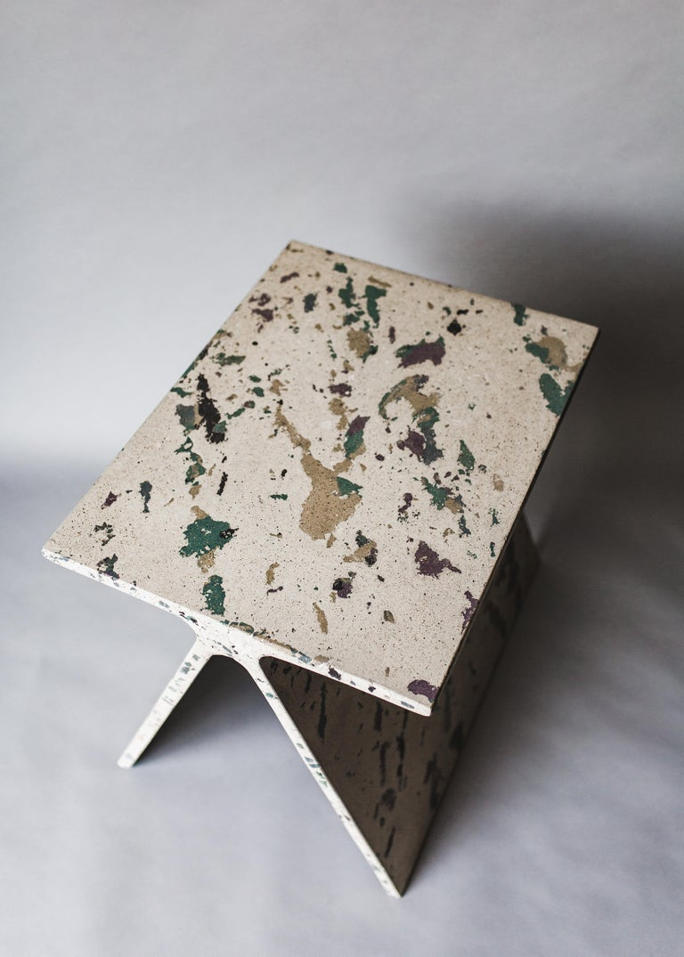 Alpha Q End Table, New Skies Colourway, Concrete for Indoor or Outdoor by Mtharu For Sale 3