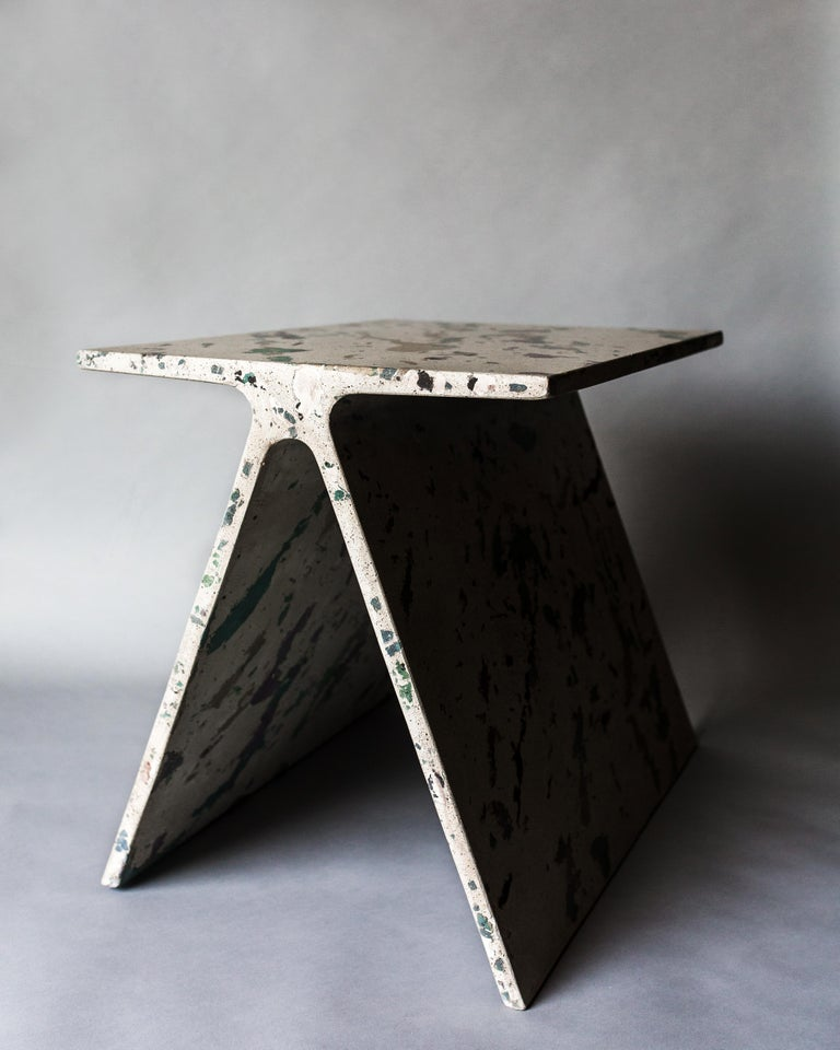 Alpha Q End Table, New Skies Colourway, Concrete for Indoor or Outdoor by Mtharu For Sale 4