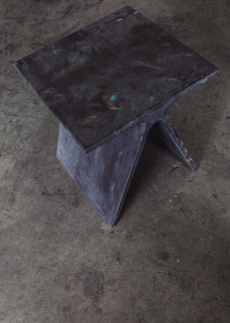Contemporary Alpha Q End Table or Stool, Concrete Chapa Ed. for Indoor or Outdoor by Mtharu For Sale