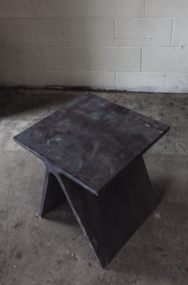 Alpha Q End Table or Stool, Concrete Chapa Ed. for Indoor or Outdoor by Mtharu For Sale 2