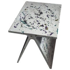 Alpha Q End Table or Stool, Concrete Chapa Ed. for Indoor or Outdoor by Mtharu