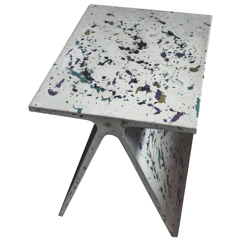 Alpha Q End Table or Stool, Concrete Chapa Ed. for Indoor or Outdoor by Mtharu For Sale