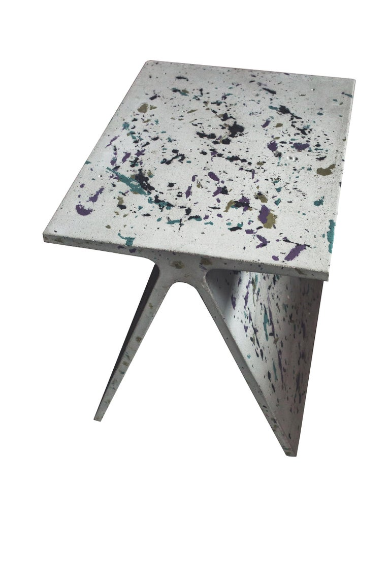 Alpha Q End Table or Stool, White Concrete for Indoor or Outdoor by Mtharu For Sale 7
