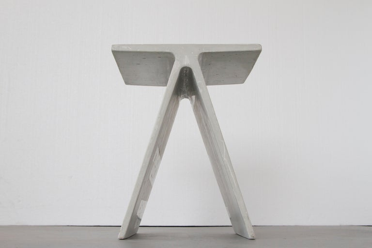 Minimalist Alpha Q End Table or Stool, White Concrete for Indoor or Outdoor by Mtharu For Sale