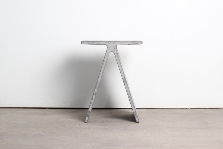 Canadian Alpha Q End Table or Stool, White Concrete for Indoor or Outdoor by Mtharu For Sale
