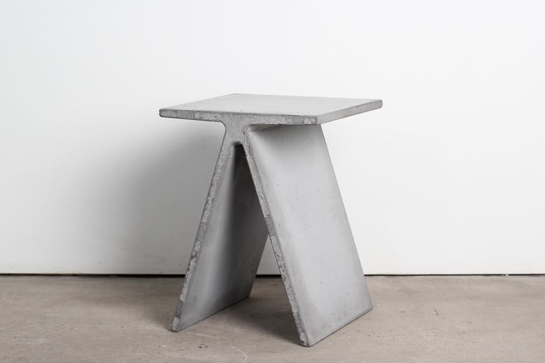 Cast Alpha Q End Table or Stool, White Concrete for Indoor or Outdoor by Mtharu For Sale