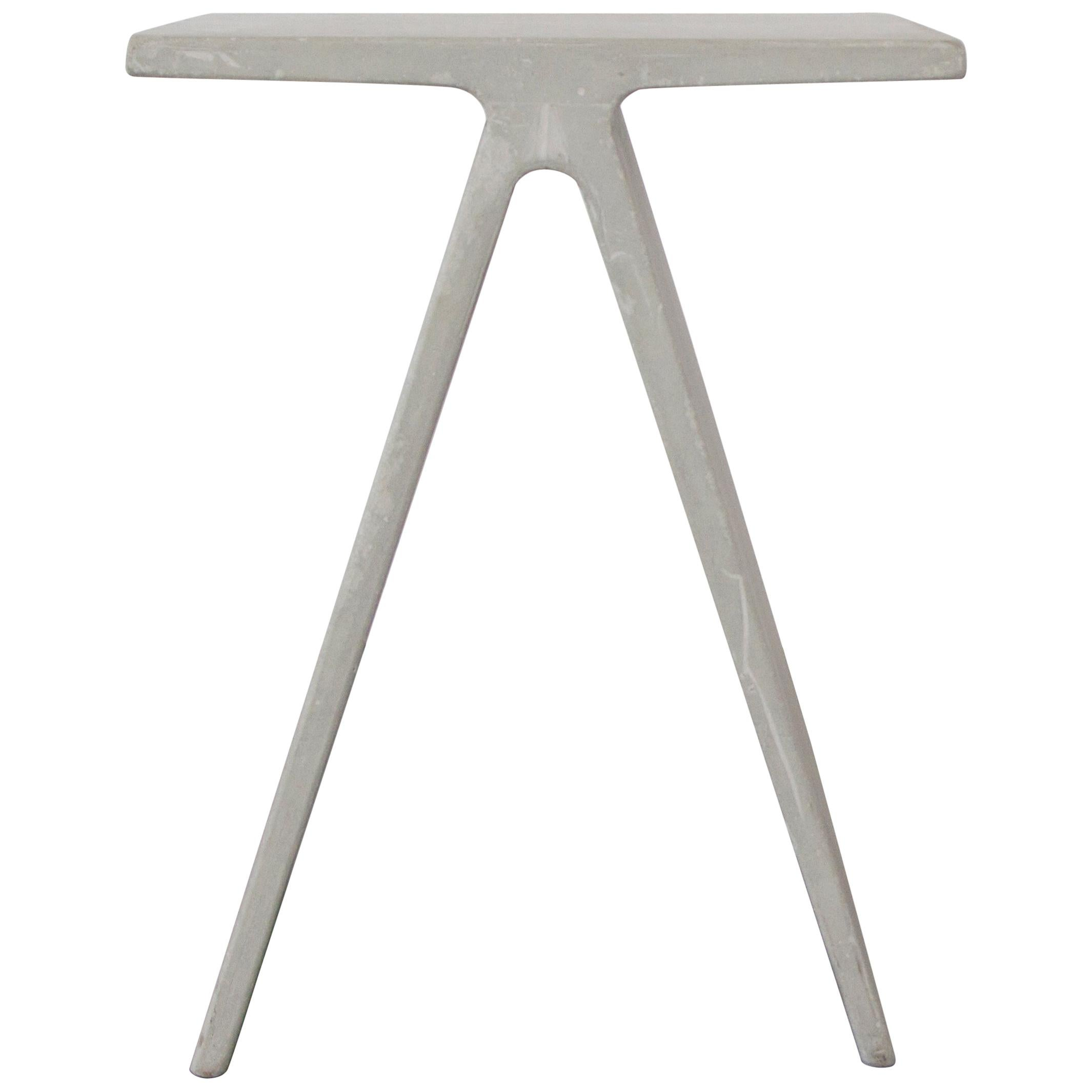 Alpha Q End Table or Stool, White Concrete for Indoor or Outdoor by Mtharu