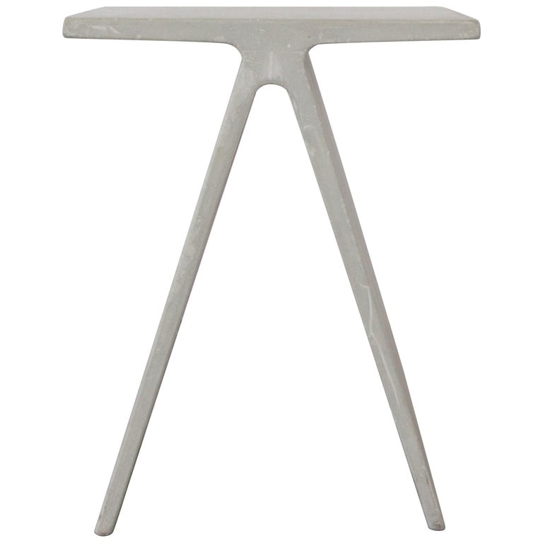 Alpha Q End Table or Stool, White Concrete for Indoor or Outdoor by Mtharu For Sale