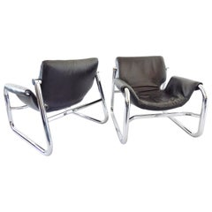 Alpha Sling Leather Chairs by Maurice Burke for Pozza, Mid-Century Modern, Black