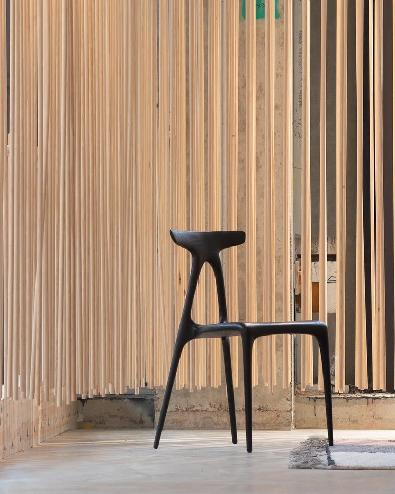 Alpha, Solid Ebonised Oak Stackable Contemporary Dining Chair by Made in Ratio For Sale 2