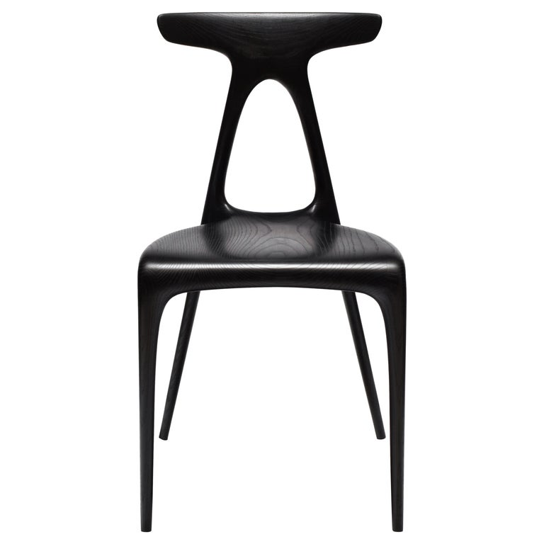Alpha, Solid Ebonised Oak Stackable Contemporary Dining Chair by Made in Ratio For Sale