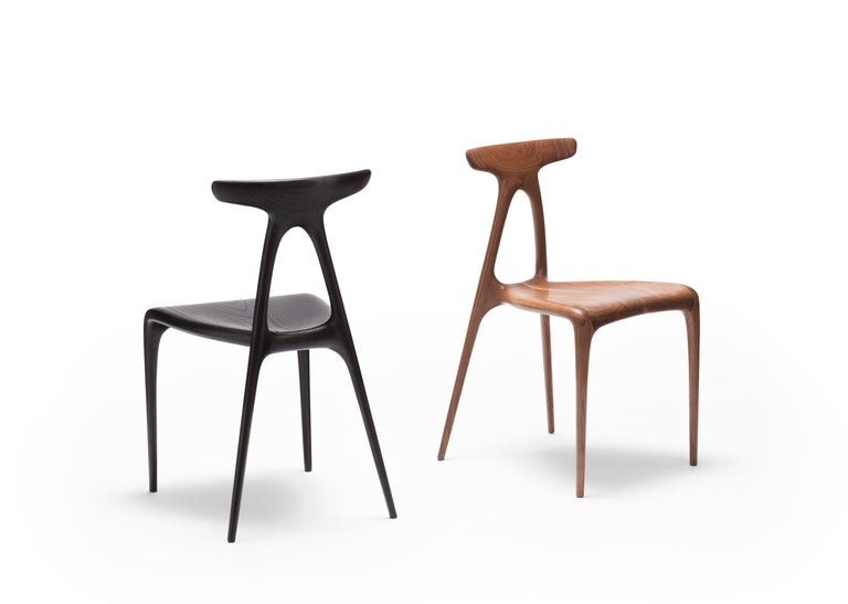 'Alpha' Solid Walnut Stackable Contemporary Dining Chair - In Stock For Sale 6