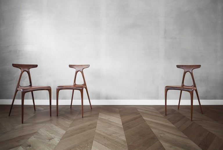 Modern 'Alpha' Solid Walnut Stackable Contemporary Dining Chair - In Stock For Sale
