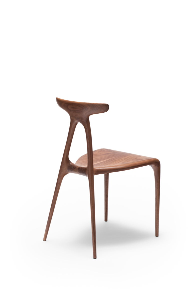 Ebonized 'Alpha' Solid Walnut Stackable Contemporary Dining Chair - In Stock For Sale