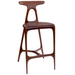 Alpha Stool, Solid Walnut Contemporary Counter Stool by Made In Ratio