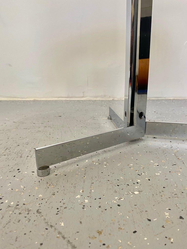 Mid-Century Modern Alpha Table by Hans Eichenberger, Chrome and Glass For Sale