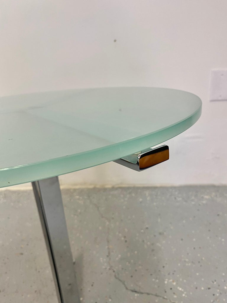 Alpha Table by Hans Eichenberger, Chrome and Glass In Excellent Condition For Sale In Raleigh, NC