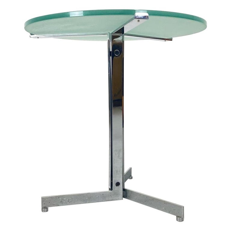 Alpha Table by Hans Eichenberger, Chrome and Glass For Sale