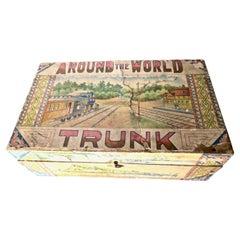 "Alphabet Block Set 'Bird Theme' ""Around The World Trunk"" R.Bliss American C 1895"