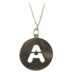 Alphabet Token a Necklace 18 Karat Yellow Gold
