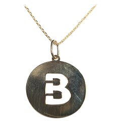 Alphabet Token B Necklace 18 Karat Gold, Options White, Yellow and Rose Gold