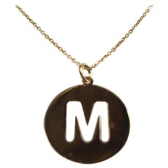 Alphabet Token M Necklace 18 Karat Gold, Options White, Yellow and Rose Gold