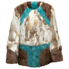 Alphamoment Brown & Multicolor Rabbit Fur Jacket