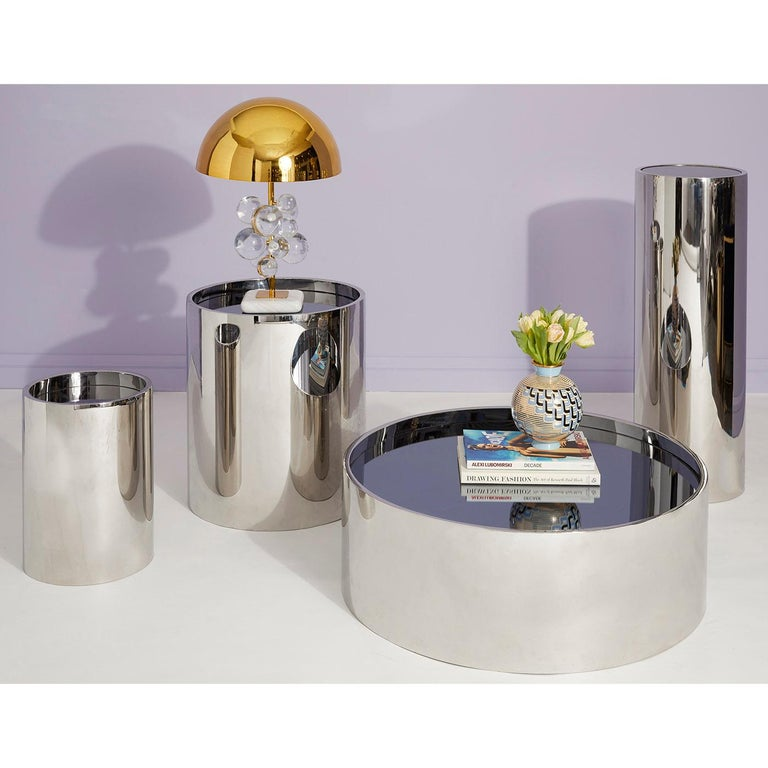 Alphaville Polished Stainless Steel Cocktail Table For